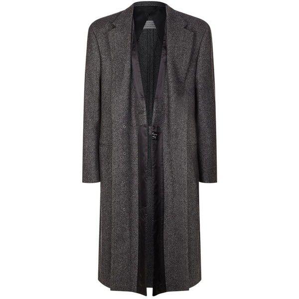 Maison Margiela Layered Wool Overcoat ($2,540) ❤ liked on Polyvore featuring men's fashion, men's clothing, men's outerwear, men's coats, mens wool outerwear, mens wool coats, mens herringbone coat and mens insulated coats