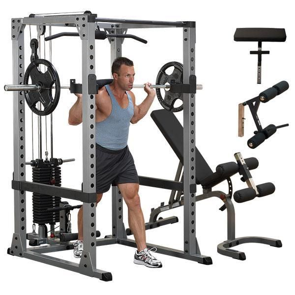 Body-Solid Power Rack Lat Package with Bench  GPR378P4 - Get the Power Rack Fully Loaded with Lat and Stack, Weight Bench with Leg and Preacher Attachments