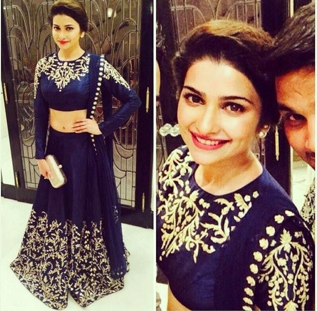 Prachi Desai Georgette Thread Work Blue Bollywood Style Semi Stitched Lehenga - T462 at Rs 3997