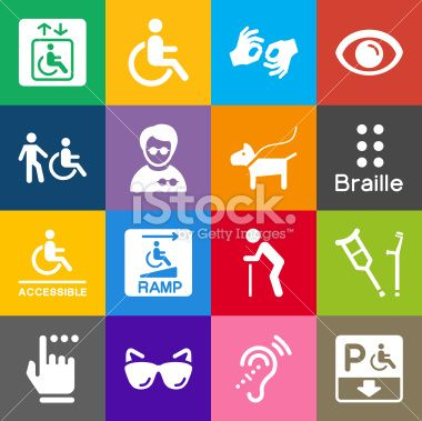 Vector File of Disability Icons and Color Background related vector icons for your design or application. Raw style. Files included: vector EPS, JPG, PNG. See more in this series.