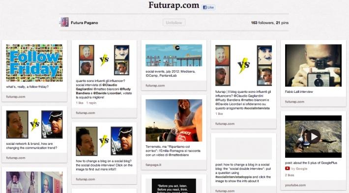 Suggerimenti della community su contenuti, blogger, opinionisti, account del mondo del social media marketing e della comunicazione online da seguire: pinna il tuo contenuto e spiega il perché lo hai trovato interessante, invita i tuoi contatti a diventare contributors, twitta il tuo suggerimento con l'hashtag #ffsocial. Facciamo rete con il web di qualità! Commenta qui col tuo account Pinterest e ti aggiungeremo!