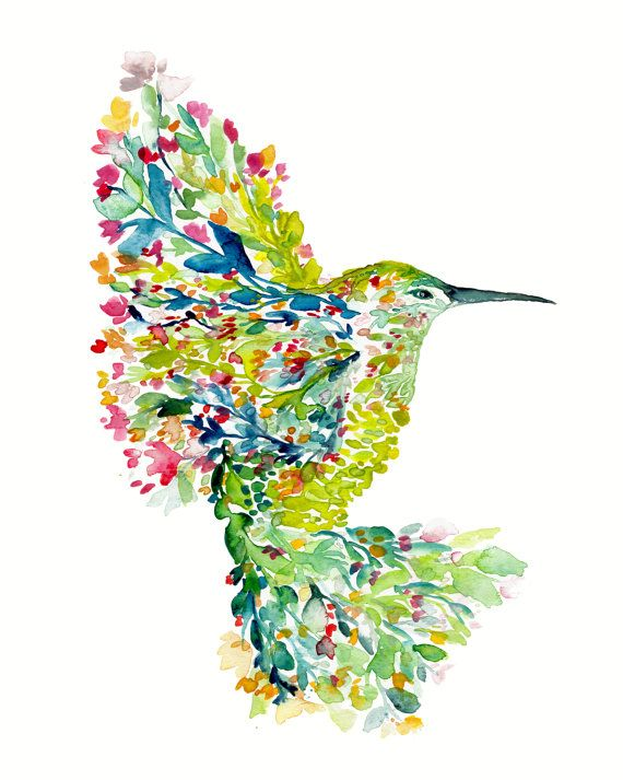 Mohala hummingbird - watercolor painting, Fine art print, bohemian, botanical, abstract floral, watercolor illustration, art print, modern