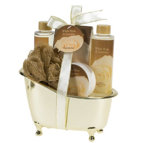 White Rose Jasmine Gold Tub Spa Bath Gift Set | The Gift Central