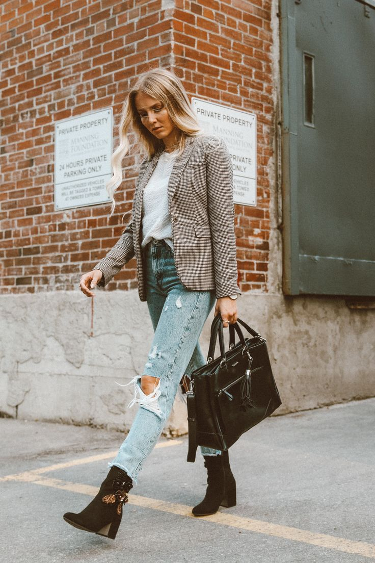 OUTFIT: Geschäftlich Casual | Karierter Blazer & Vintage Denim | Fühle mich Wunderbar