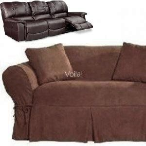Dual Reclining Sofa Couch Slipcover Suede Chocolate Brown Recliner Slip Cover Sure Fit