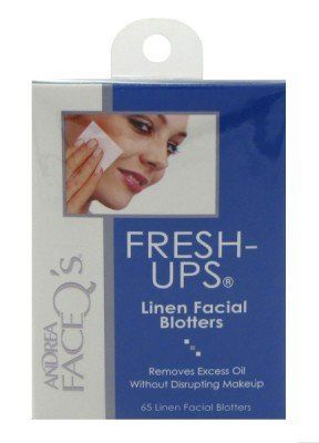 Andrea Face Q's Fresh Ups, 65CT by Andrea. $5.00. Just pat your face everywhere it shines and Voila. Linen Blotters to absorb excess oil without smudging makeup. Use on Nose, Cheeks, Chin, Forehead. Buy Andrea Acne Treatment & Oil Control Products - Andrea Face Q's Fresh-Ups Linen Facial Blotters 65 Linen Facial Blotters. How-to-Use: Remove one lint-free, hygienic blotter and gently pat your face everywhere it shines. The blotting papers will enhance the overall...