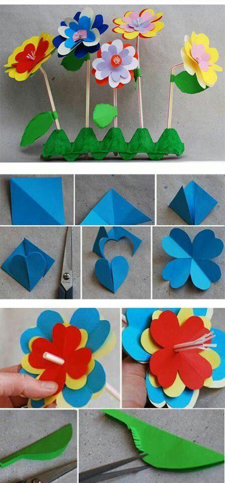 Gebruik een eierdoos, rietjes en wat dikker vouw karton. Volg het voorbeeld op de plaatjes om de bloemen te maken. www.facebook.com/TipvandeJuf/