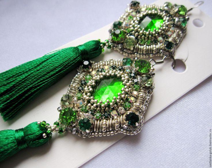"""Купить Серьги изумрудно-серебристые """"Венецианские зеркала"""" - зеленый, изумрудный, тёмно-зелёный, светло-зеленый"""