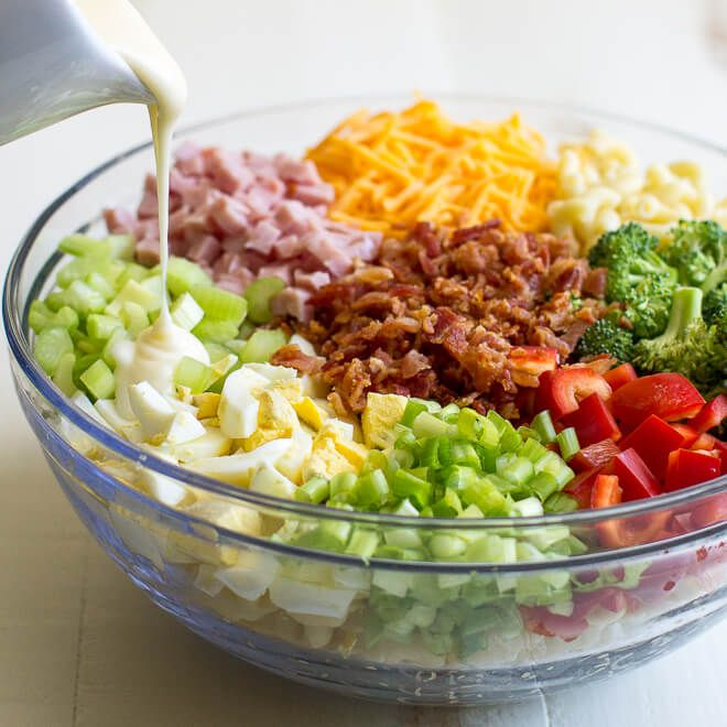 The best macaroni salad recipe cheese dressing and bacon for Best summer pasta salad recipes ever