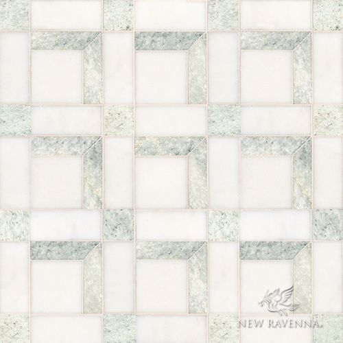 Paseo A Handmade Mosaic Shown In Polished Ming Green And Afyon White Is Part Of The Illusions Collection By Sara Baldwin Paul Schatz For New Ravenna