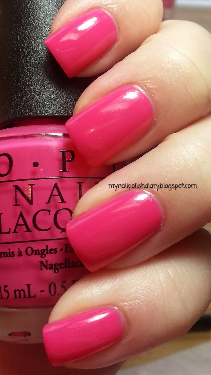 OPI Strawberry Margarita - for a not so flashy hot pink. Not hot pink, not coral, great for a trip when you will be wearing both.