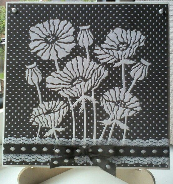 Clarity Stamps poppy stencil with Grunge Paste on dotty card from Anna Marie Designs. Made by Lynne Lee.