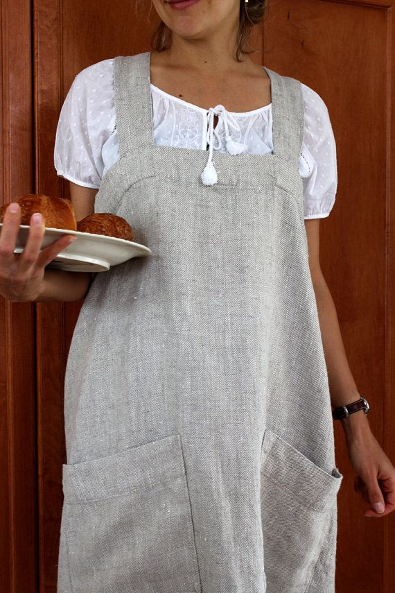 Stone Washed Linen Full Apron with crisscross by