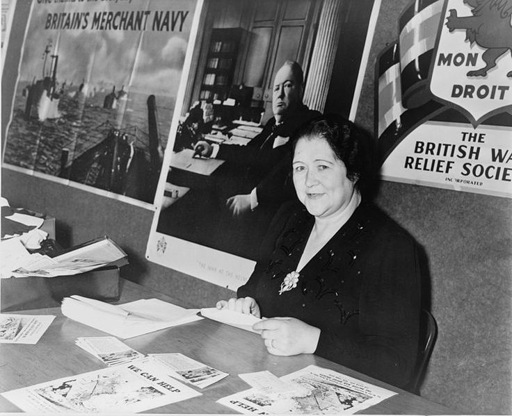 Bridget Dowling Hitler offering British war relief information in 1941. She was married to Alois Hitler, Jr. (half-brother of Adolf Hitler). Her son William Patrick Hitler served in the U.S. Navy during the war.