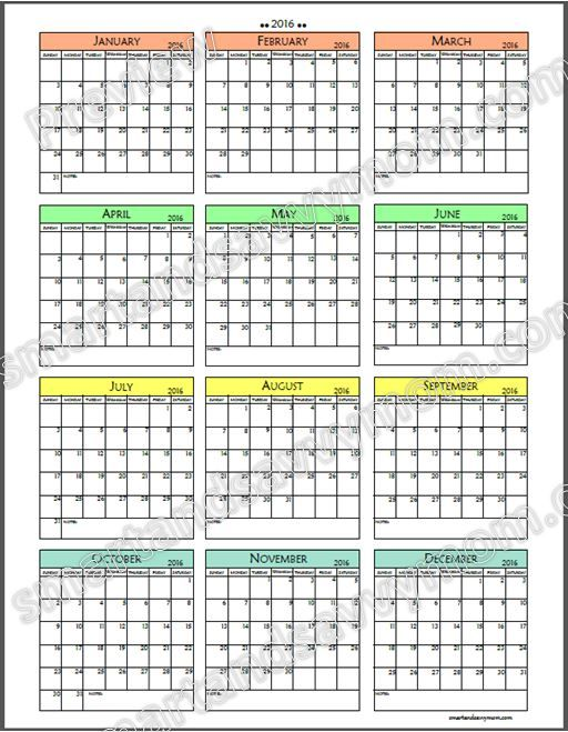 2016 Year at a Glance Full Page Printable | Smart and ...