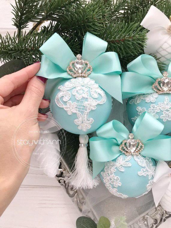 Christmas Ornaments Set Aqua Christmas Ornament Turquoise ...