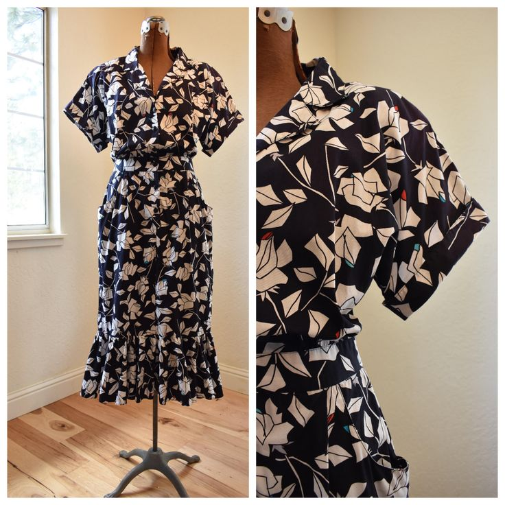1950's Vintage Abstract Floral Shirt Dress | Flamingo Tiered Train | Black and White | Pockets | Retro Dress | 50s Day Dress | 1950s Summer by LeatherLaceVintageCo on Etsy