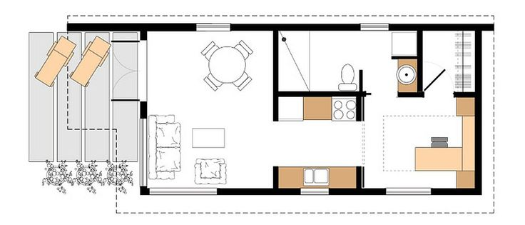 floor plan of studio37, a modern backyard cottage by Small Modern Living