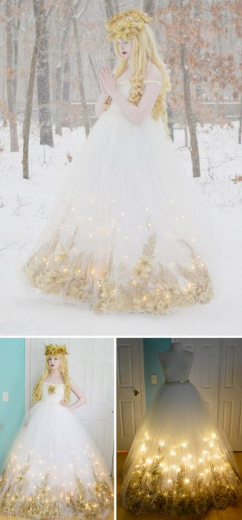 DIY Light Up Fairy Dress Tutorial from Angela Clayton's Costumery & Creations.  This was originally a Christmas angel costume, but since Christmas has come and gone, this would make a beautiful cosplay fairy dress. This is a 2 part tutorial with a video showing the twinkling lights. Angela Clayton is also on Tumblr and if you like beautiful costumes I'd definitely follow her:doxiequeen1.tumblr.comPart 1 TutorialPart 2 TutorialOut Door Dress Shoot