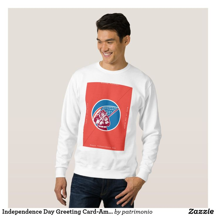 "Independence Day Greeting Card-American Patriot Ho Sweatshirt. Men's sweatshirt showing an illustration of an American patriot brandishing a flag set inside a circle on isolated background with the words ""United Forever, Home of the Brave, Happy Independence Day, Land of the Free"" #independenceday #4thofjuly #sweatshirt"