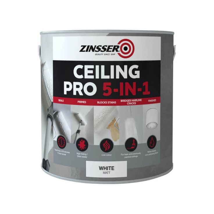 Ceiling Pro 5 in 1 Paint White Matt A specialist paint for a professional finish to a ceiling. A one hour recoat time and low odour ensures that this paint is perfect for your next ceiling project. Read more...