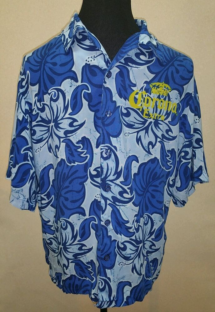 Corona Extra Blue Button Front Hawiian Shirt Men's sz Large Lightweight Mens #CoronaExtra #ButtonFront