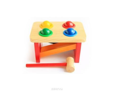 """Мир деревянных игрушек Игровой набор Стучалка Горка Шарики  — 689р.  Игровой набор Мир деревянных игрушек """"Стучалка. Горка. Шарики"""" изготовлен из экологически чистой древесины. Набор является разновидностью игрушки """"Гвозди-перевертыши"""". Разноцветные шарики вставлены в отверстия, каждый в свое. Затем их забивают молоточком, а они проваливаются в отверстия и скатываются по горке. Деревянные шарики не проваливаются самопроизвольно, так как они удерживаются пластиковыми кольцами, вклеенными в…"""