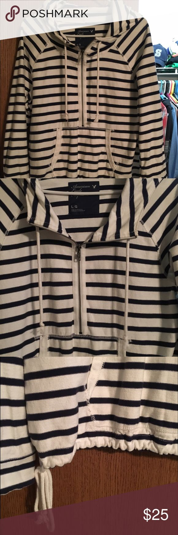 American Eagle Striped Hoodie Blue and white striped hoodie, quarter-zip, tie on bottom to synch. Hooded, front pocket. Great condition just doesn't fit anymore. American Eagle Outfitters Tops Sweatshirts & Hoodies