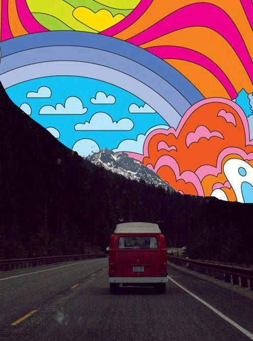 very Peter Max - take a photo or magazine image of a landscape and collage replacing the sky with a colorful Max style drawing/painting