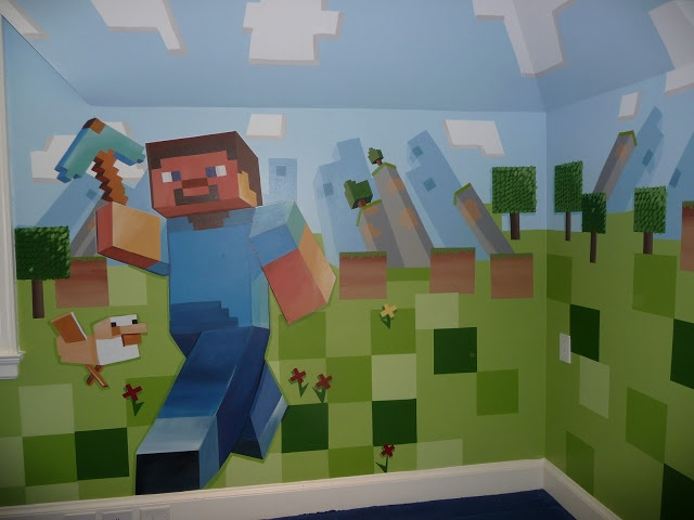 Minecraft Steve and his trusty duck. Painted with Sherwin Williams Emerald Paints for easy two coat coverage. Taped of squares with Scotch Blue Painter's tape for clean crisp lines.