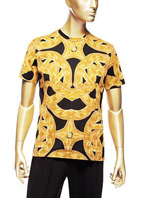 Versace Men Men Barocco Chain Print T-Shirt
