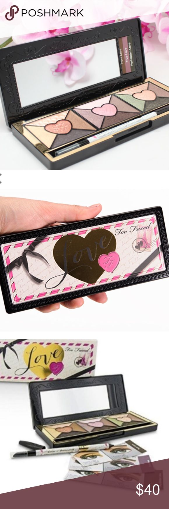 🎀🆕Too Faced Love Palette🎀 Sold out online. DETAILS MORE TO LOVE: • Advanced slurry technology transforms a liquid powder blend into silky, lightweight powders for multidimensional, intense color payoff • 15 passionately pigmented with shades in shimmer, pearl and matte finishes • Includes an exclusive, full size black Perfect Eyes Eye Liner dressed in Love • Signature how-to Glamour Guide offers step-by-step application instructions for creating six love-worthy looks Sephora Makeup…