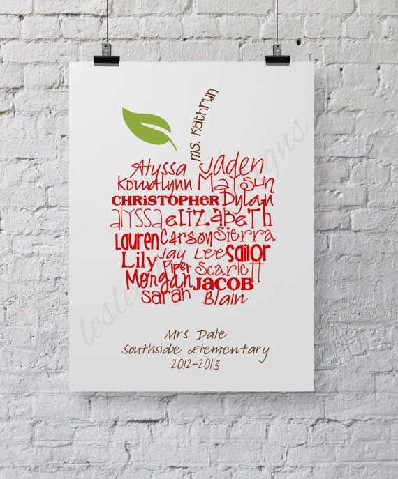 Perfect Teacher's Gift... Typography Art by lesleygracedesigns