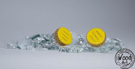 Yellow Stud Earrings Yellow Post Earrings Yellow by TheWoodArtShop