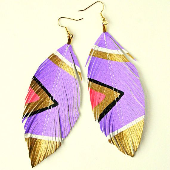 Neon Aztec Hand Painted Faux Leather Feather Earrings from lovesexton