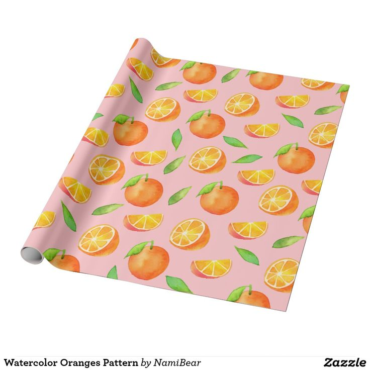 Watercolor Oranges Pattern Wrapping Paper. This is a pattern of oranges from different angles. The oranges were colored in watercolor.