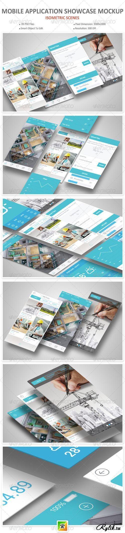Мольное приложение - макет для презентации. Mobile Application Showcase Mockup