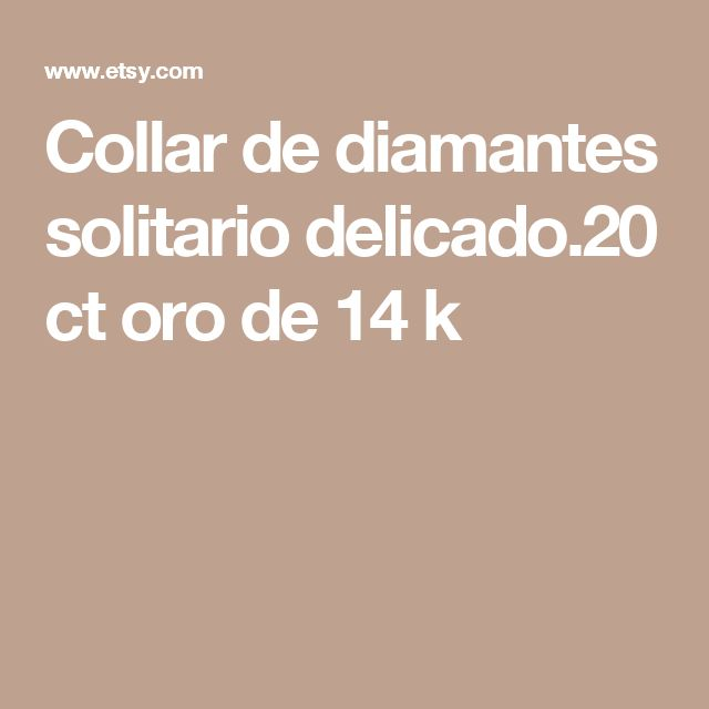 Collar de diamantes solitario delicado.20 ct oro de 14 k