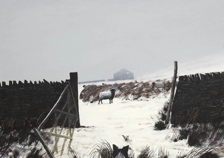"""Peter Brook.. """"Out with the Dog""""..Pennine landscape artist, born in Yorkshire. 1927-2009..His paintings show the beauty and vastness of the Yorkshire landscape, often with humour..   