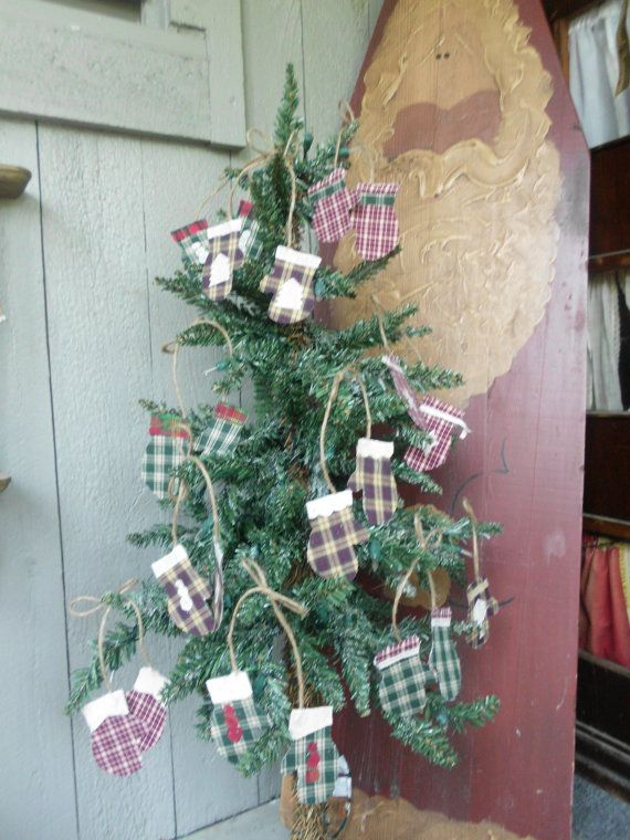Mitten Ornaments Primitive Country Christmas by ReVintageLannie, $8.00