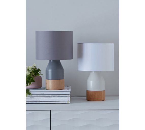 Argos Home Hex Natural Wood Table Lamp