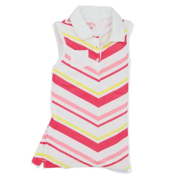 Youth girls performance junior golf sleeveless polo shirt from Garb, the leading kids golf clothing brand. Sublimated pattern for soft hand feel and breathability.