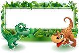 Vettoriale: Dinosauri Cuccioli Giungla-Baby Dinosaur Jungle Background