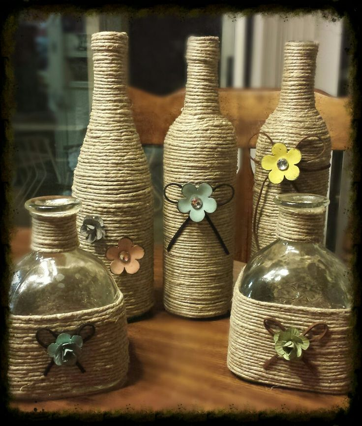 My vases I did this week. Used patron, wine and champagne bottles.