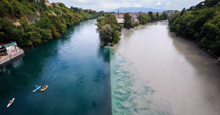 Место слияния рек Рона иАрв. Женева, Швейцария.