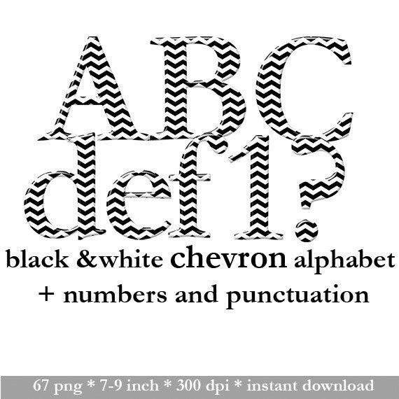 Black and white digital chevron alphabet clipart by LucyPlanet