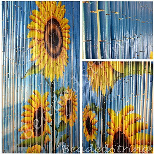 "BeadedString Bamboo Beaded Curtain-Hand Painted Natural Bamboo Wood Beaded Door Beads-Doorway Curtain-35.5""x80""-90 Strands-Sunflower - http://houseofjunque.com/product/beadedstring-bamboo-beaded-curtain-hand-painted-natural-bamboo-wood-beaded-door-beads-doorway-curtain-35-5x80-90-strands-sunflower -"