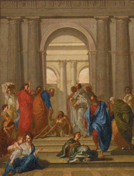 Jean de Troy (1638-1691) Saint Pierre et saint Jean guérissant le paralytique, 1687 Huile sur toile - 119 x 96 cm Montpellier, Musée Fabre