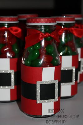 Stuck on Stampin': 12 days of Christmas projects - day 3 bottles candie santa wrap