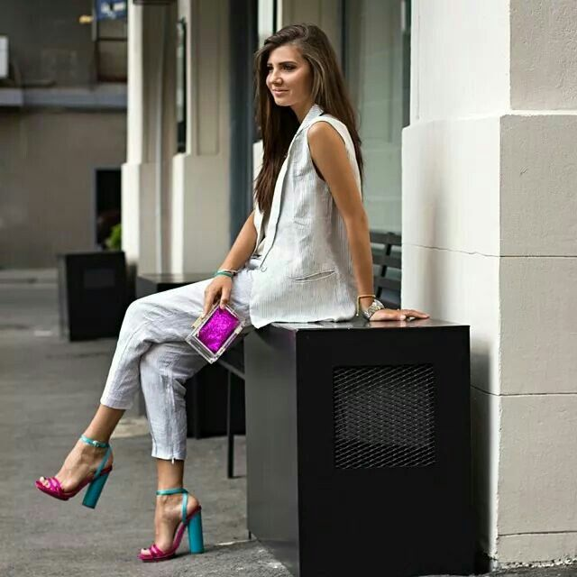 The white separates with colorful shoes and accessories--Amazing.